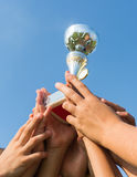 Cup in soccer kids. Winning the cup in soccer kids stock photos