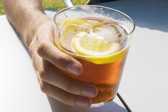 Cup of soda or vermouth. In glass stock photography