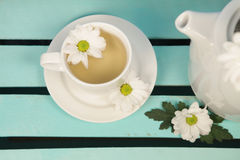 Cup of soothing chamomile tea Royalty Free Stock Images