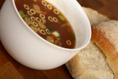 Cup of Soup. Cup of minestrone soup with croutons Royalty Free Stock Photography