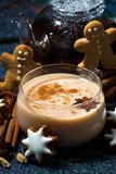 cup of spicy masala tea and Christmas cookies, closeup Royalty Free Stock Photography