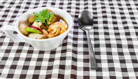 Cup of Spicy soup (tom yum kung) Stock Photo