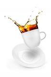 Cup of spilling coffee Stock Image