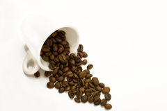 Cup with spilt coffee beans Royalty Free Stock Photos