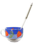 Cup with a spoon. On a white background Stock Photo
