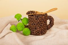 Cup, spoon with coffee and branch of green Royalty Free Stock Photo