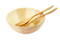 Cup and spoon-fork made of wooden stock photos