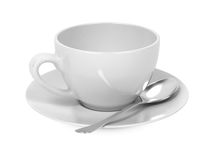 Cup with Spoon and Saucer. Stock Photo