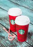 Cup of Starbucks holiday beverage peppermint mocha Royalty Free Stock Photo