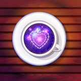 Cup with stars and hearts Royalty Free Stock Photography