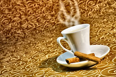 Cup of steaming coffee Royalty Free Stock Photo