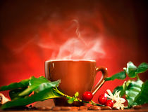 Cup of steaming coffee Royalty Free Stock Photos