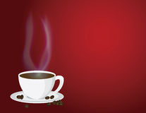 Cup of Steaming Hot Coffee and Beans Illustration Stock Images
