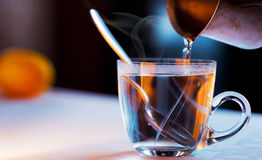 Cup of steaming tea. On blurry backgound Royalty Free Stock Photography