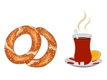 Cup of steaming turkish tea with turkish simit royalty free illustration