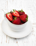 Cup with strawberries Stock Image
