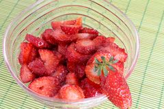 Cup of strawberries with sugar Stock Images