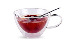 Cup with a strawberry fruit compote Stock Images