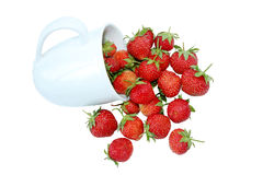 A cup of strawberry isolated on white Stock Images