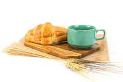 A cup of strong black espresso coffee and fresh croissant isolated Royalty Free Stock Image