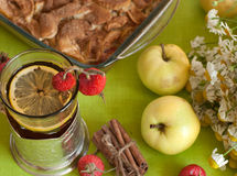 A cup of strong black tea with a lemon slice, an apple pie, a bouquet of chamomiles, cinnamon sticks, ripe apples and mature hips Royalty Free Stock Photos