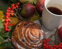 A cup of strong black tea, sweet bun with raisins, ash berries, apples and colorful autumn leaves on a stone surface Stock Images