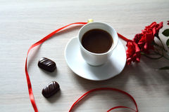 Cup of strong coffee with sweets Stock Photos