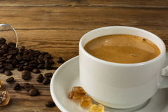 Cup of strong morning coffee and brown sugar royalty free stock images