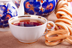 Cup of Strong Tea and Bagels Stock Image