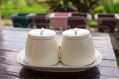 Cup sugar bowl Royalty Free Stock Image