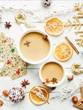 Sweet winter drink. Cup with sweet winter drink and spices. Shallow dof Royalty Free Stock Photography