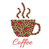 Cup symbol of fresh and roasted coffee beans Stock Image