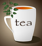 Cup of tea. And leaves in brown background. (illustration Stock Images
