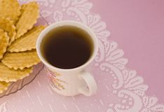 A cup of tea. And waffles Royalty Free Stock Photos