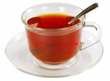 A cup of tea. A cup of ceylon tea, isolated on the white background Royalty Free Stock Images