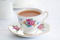 Cup of tea. Tea served in a vintage teacup stock photo