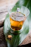 Cup of tea. Cup of chinese green tea in glass royalty free stock photos
