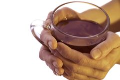 Cup of tea. Two hands holding a cup of tea. Isolated on white stock images