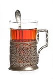 Cup of tea. With glass-holder and spoon Stock Images
