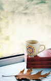Cup of tea. By the window in an autumn day royalty free stock photos