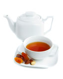 Cup of tea. With teapot on white background Stock Photo