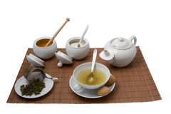 Cup of tea. Cup of green tea with pot honey and sugar Royalty Free Stock Photos