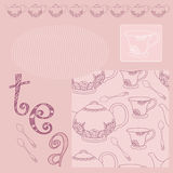 Cup of tea. Pink pattern with tea service and frame Stock Illustration