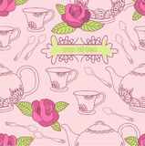 Cup of tea. Tea service with roses on the pink background vector illustration