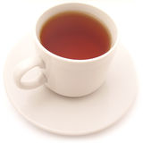Cup of tea. On a saucer. isolated on white stock images