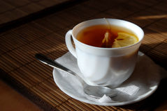 Cup of tea. With tea bag royalty free stock images