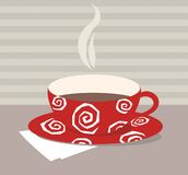 Cup of tea. A red cup of hot tea or coffee Stock Image