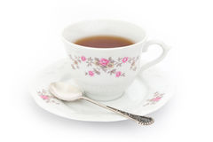 Cup of tea. Tea in china cup with decorations stock images