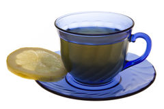 Cup of tea. With lemon slice isolated on white. Clipping path incl Stock Photos