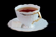 Cup of tea. On black royalty free stock photography